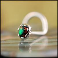 black opal and sterling silver nose ring