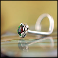 sterling silver with black opal nose jewelry