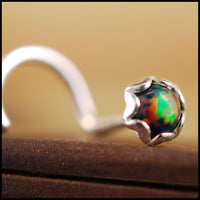 black opal and sterling silver nose stud