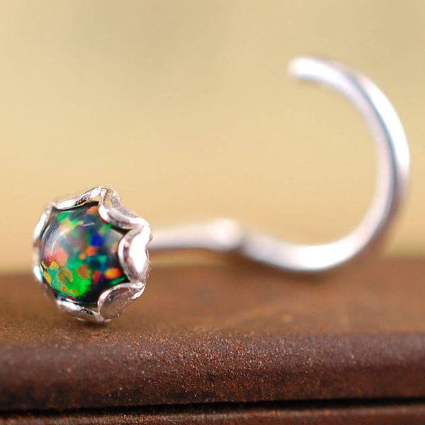 black opal nose stud