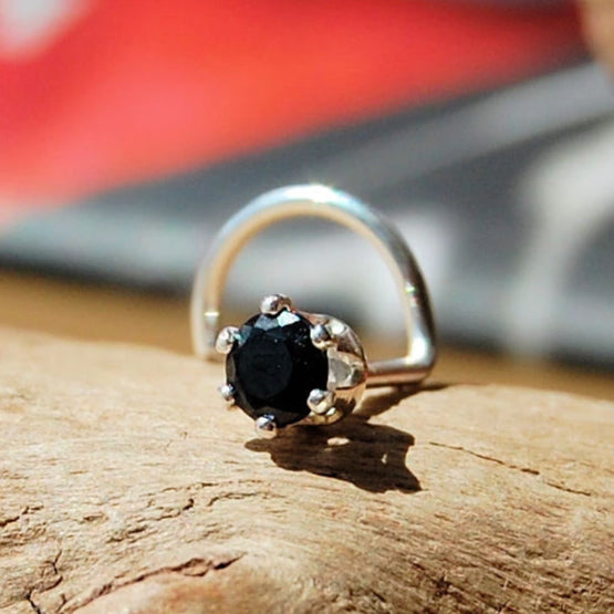 Black Spinel High Profile Nose Stud