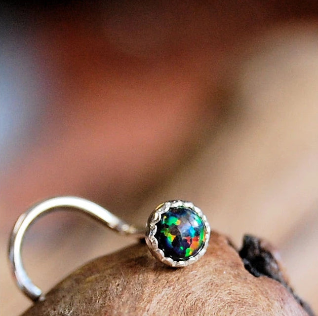 Black Opal (Lab Created) Nose Stud in Serrated Bezel