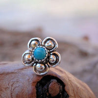 turquoise and sterling silver nose stud with flower filigree
