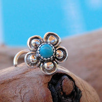 nickel-free sterling silver nose stud with turquoise gemstone