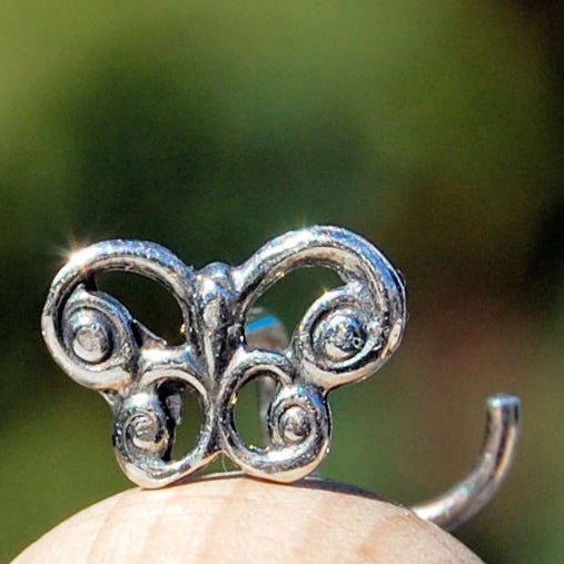 Silver Celtic Butterfly Nose Stud