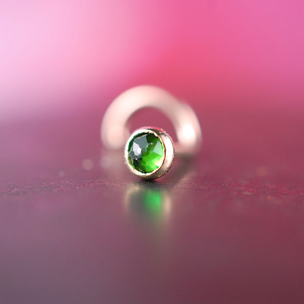 Chrome Diopside Rose Gold Nose Stud