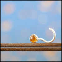 Sunny Citrine and Silver Nose Stud