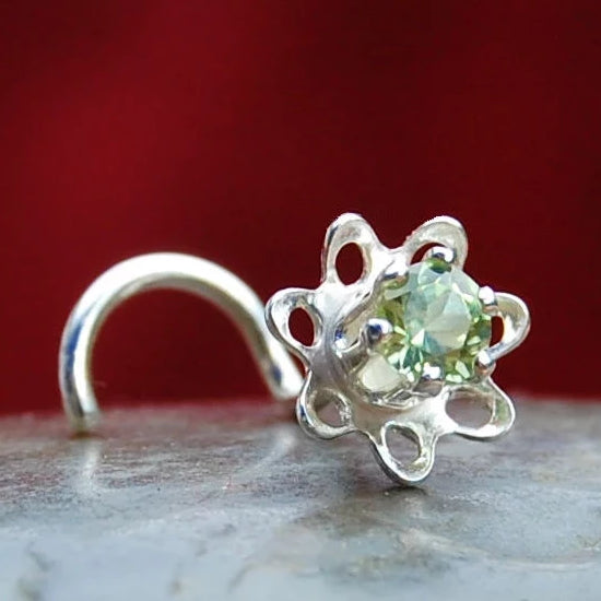 Flower Nose Stud in Sterling Silver with Peridot Gemstone