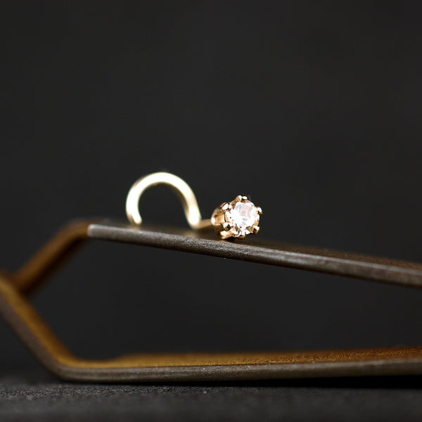 champagne diamond style nose stud in 14 karat gold