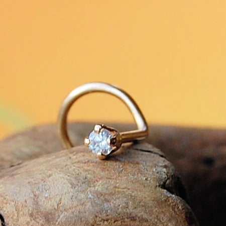 dainty 2mm diamond gold nose stud