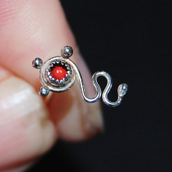 sterling silver and garnet nose stud