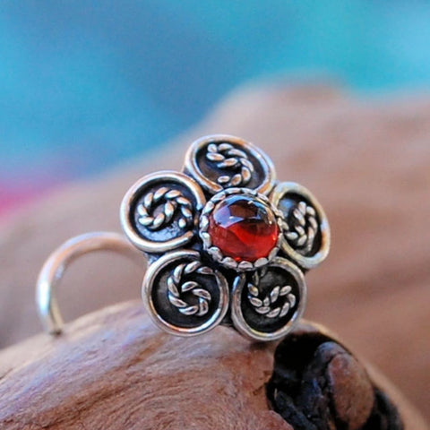 Garnet and Silver Braid Nose Stud
