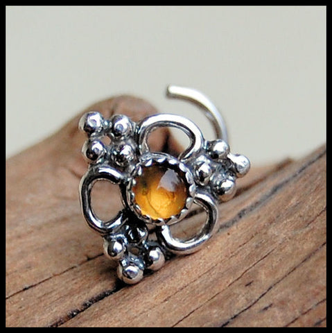 Silver and Citrine Unique Bold Nose Stud