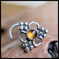 unique sterling silver nose jewelry with citrine gemstone