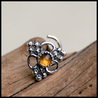 unique sterling silver nose stud with citrine gemstone