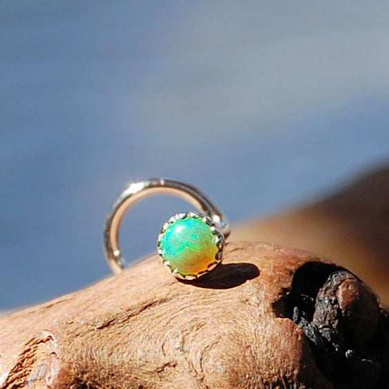 Green Opal 3mm (Lab Created) Nose Stud in Serrated Bezel
