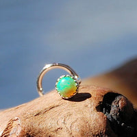Green Opal 3mm in Serrated Bezel