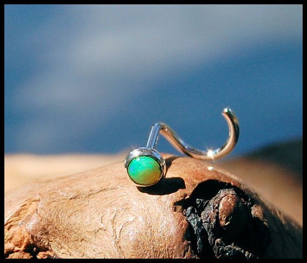 Green Opal 3mm (Lab Created) Nose Stud in Straight Bezel