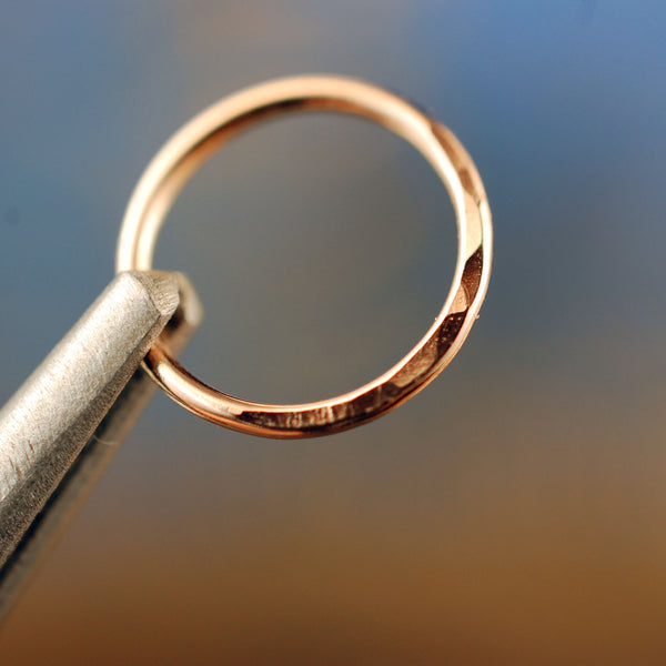 Rose Gold Nose Ring Hoop Hammered