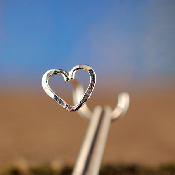 sterling silver heart nose stud