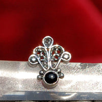 Hamsa Filigree Silver and Black Nose Stud