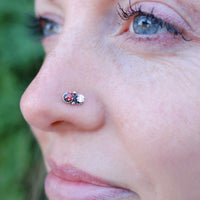 dainty gemstone nose stud