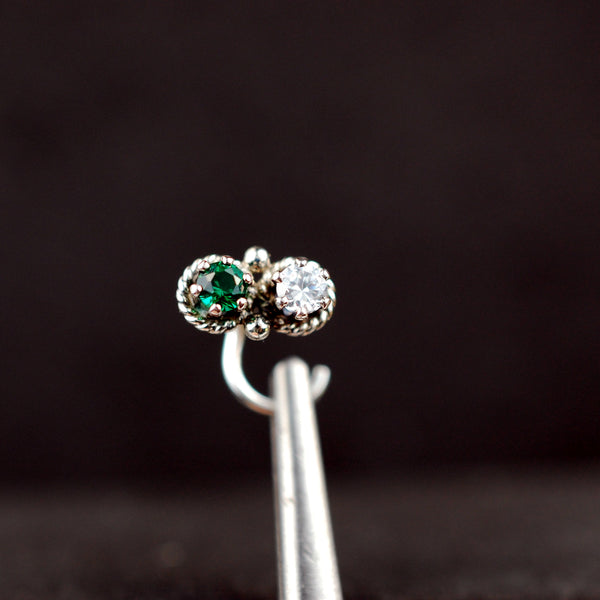 emerald and sterling silver nose stud