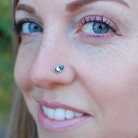 emerald and sterling silver nose jewelry