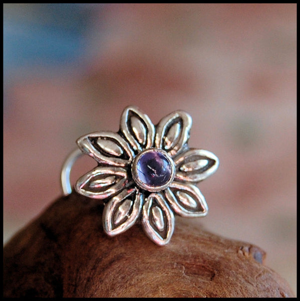 Iolite Burst Nose Stud in Sterling Silver