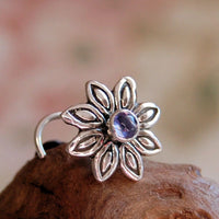 sterling silver flower nose stud with tiny iolite gemstone