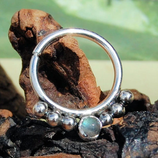 Labradorite Septum Ring Nose Ring Rock Your Nose Jewelry Inc