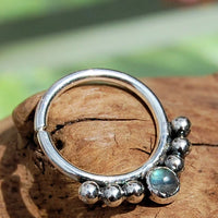 sterling silver labradorite septum ring