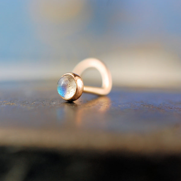 labradorite and rose gold nose stud