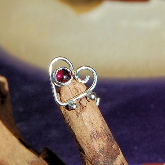 heart nose stud in sterling silver