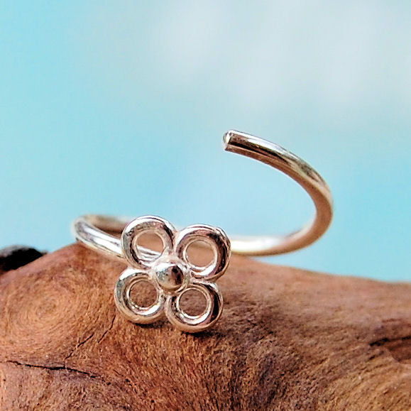 sterling silver flower blossom nose ring