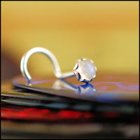 sterling silver nose stud with rainbow moonstone gemstone
