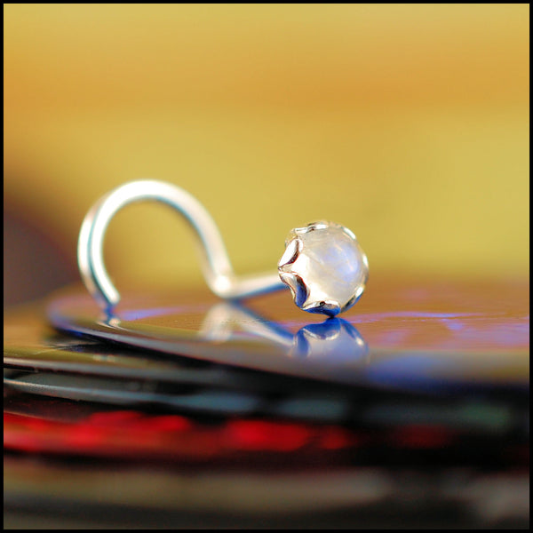 Rainbow Moonstone Fancy Nose Stud