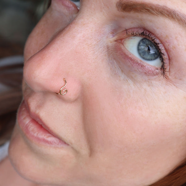 gold spiral nose ring