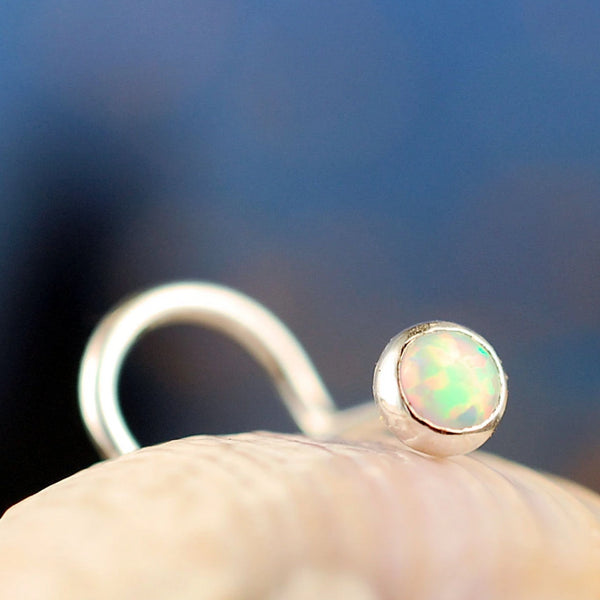 3mm opal nose stud
