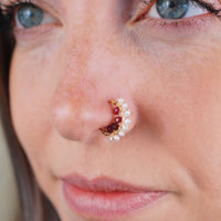 Indian Garnet and Pearl Gold Nose Ring
