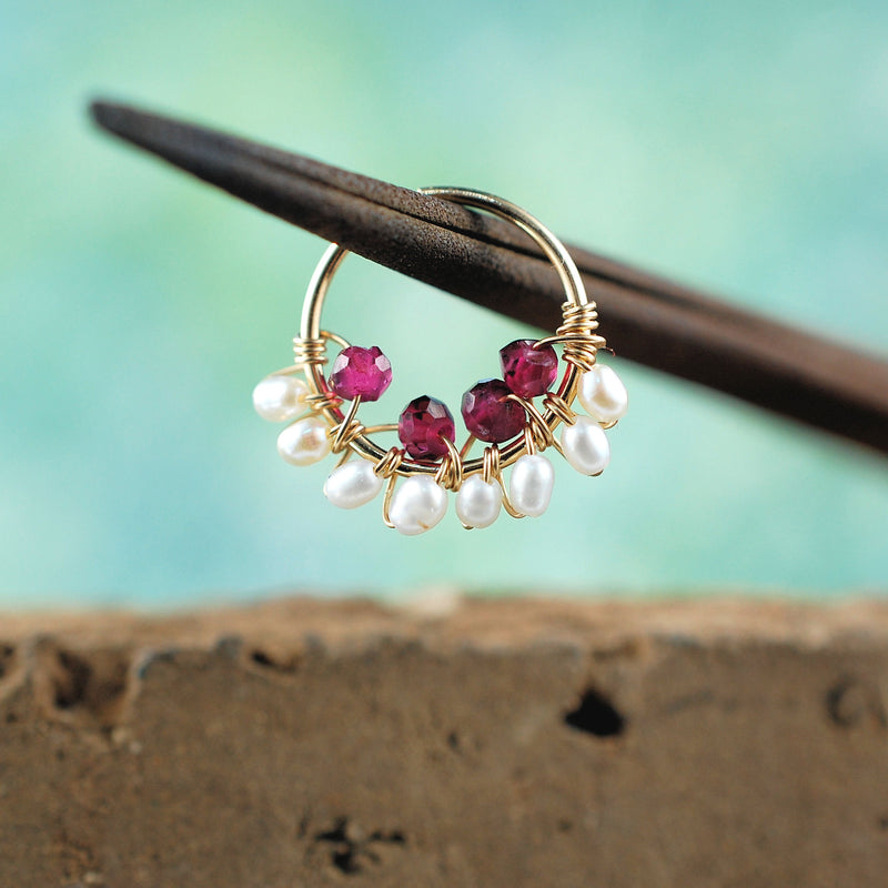 Indian Garnet And Pearl Gold Nose Ring Rock Your Nose Jewelry Inc