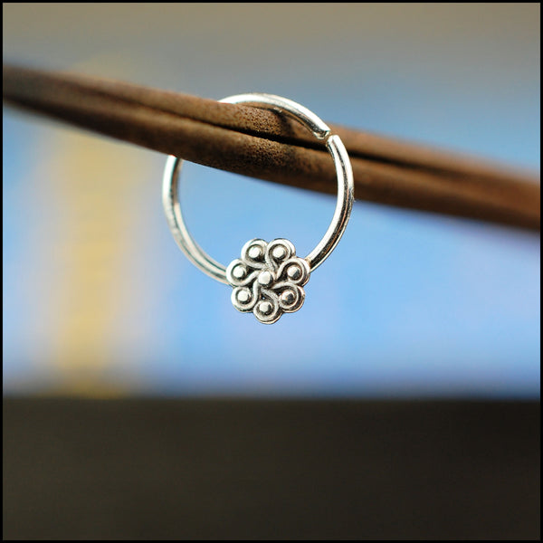 dainty flower septum ring in sterling silver