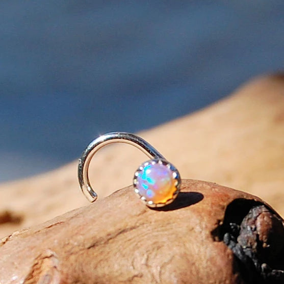 Pink Opal 3mm (Lab Created) Nose Stud in Serrated Bezel