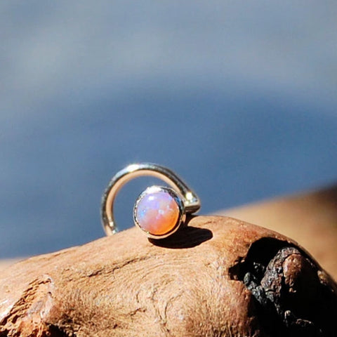 Pink Opal 3mm (Lab Created) Nose Stud in Straight Bezel