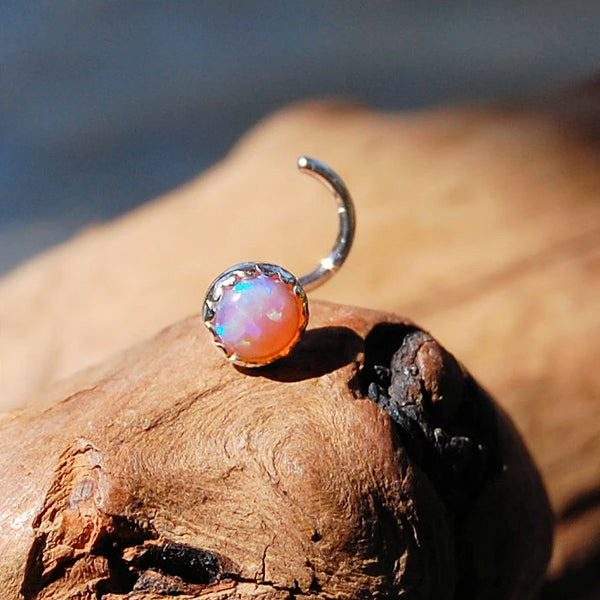 Pink Opal 4mm (Lab Created) Nose Stud in Serrated Bezel