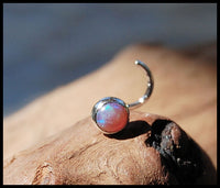 4mm opal nose stud in sterling silver