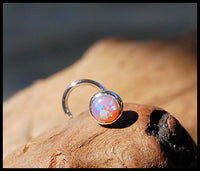 pink opal gemstone nose stud in nickel-free sterling silver