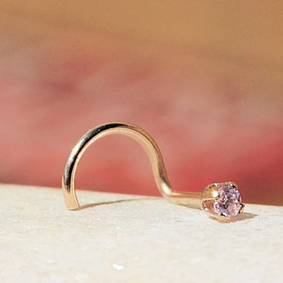 Dainty Pink Zirconia Nose Stud Set in Yellow Gold - 2mm Stone