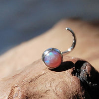 pink opal nose ring