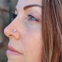 Flower with Pink Opal Nose Stud
